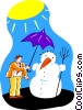 Vector Clipart image  of a snowman melting in the