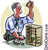 Vector Clip Art image  of a Computer technician
