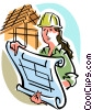 Female foreman Vector Clipart illustration