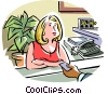 Vector Clip Art graphic  of a Secretary at her desk