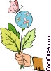 Vector Clip Art graphic  of a hand holding a balloon with