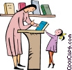 teacher giving a book to a female student Vector Clip Art picture