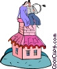 Vector Clip Art graphic  of a couple sitting on a house