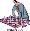 Vector Clipart illustration  of a businessman playing chess