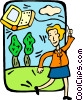 woman flying a computer kite Vector Clip Art picture