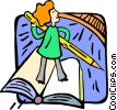 Vector Clip Art graphic  of a Woman standing on a book