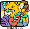 Vector Clip Art image  of a making a music video