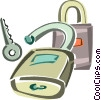 Vector Clip Art graphic  of a padlock and key