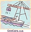 Vector Clip Art image  of a crane loading cargo on a ship