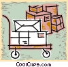 shipping cart with packages Vector Clip Art image