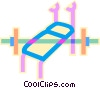 Vector Clipart graphic  of a bench press with weights