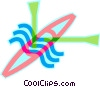 kayak with paddles Vector Clipart picture