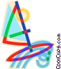 Vector Clip Art image  of a windsurfing with a wave