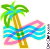 Vector Clip Art image  of a palm tree with surfboard