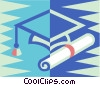 Vector Clipart graphic  of a graduation hat and diplomas