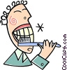 Vector Clip Art image  of a man brushing his teeth