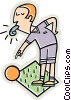 Vector Clipart image  of a Referee blowing whistle