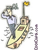 Vector Clipart picture  of a sailor saluting on a ship