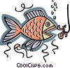 Vector Clip Art graphic  of a fish with baited hook