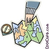 compass, map, pointing hand Vector Clipart graphic