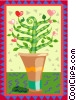 Vector Clip Art graphic  of a potted flowers