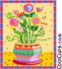 potted flowers Vector Clip Art graphic