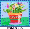 Vector Clipart image  of a potted flowers