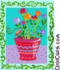 potted flowers Vector Clipart picture
