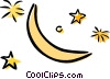 Vector Clipart illustration  of a moon and stars