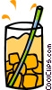 Vector Clipart picture  of a drink with ice and a straw