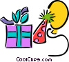 presents, hat, balloon Vector Clip Art graphic