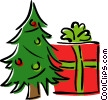 Christmas tree and present Vector Clip Art picture