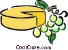 Vector Clip Art image  of a cheese and grapes