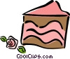 cake with rose icing Vector Clipart illustration