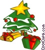 Vector Clip Art graphic  of a Christmas tree and presents