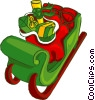 Vector Clipart illustration  of a Santa's sleigh