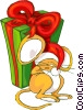 Christmas mouse asleep on a Christmas present Vector Clipart picture