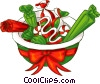 bowl of Christmas candy Vector Clipart illustration