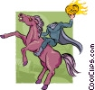 Vector Clip Art graphic  of a headless horseman