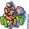 Vector Clipart graphic  of a man with phone at computer