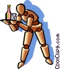 Vector Clipart illustration  of a waiter serving drinks