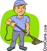 man with a vacuum Vector Clip Art graphic