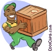 Vector Clip Art picture  of a man carrying a shipping crate