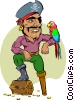 Vector Clip Art picture  of a pirate with his parrot