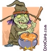 Witch brewing her potion Vector Clipart image