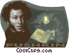 Vector Clip Art image  of an Aleksandr Pushkin Russian poet