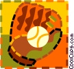 Vector Clip Art image  of a baseball and baseball glove