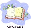 Vector Clip Art image  of a book with ivy