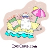 Vector Clip Art picture  of a cool cat