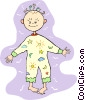 Vector Clip Art image  of a baby in pajamas